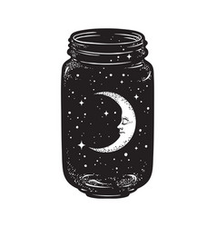 Hand drawn wish jar with crescent moon and stars vector