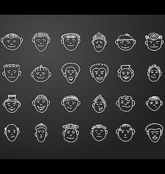Icon set 24 face man vector