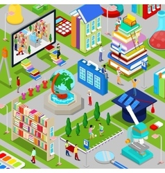 Isometric City of Education with Books vector