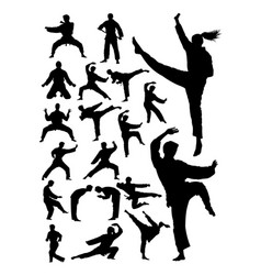 karate martial art detail silhouette vector image