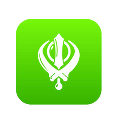 Khanda symbol sikhism religion icon green vector