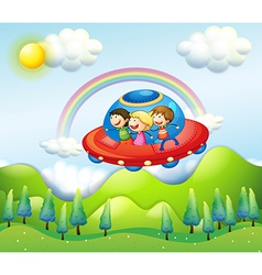 Kids in UFO vector image