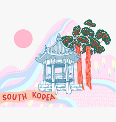 korean landscape with building vector image