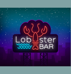 Lobster neon logo icon emblem vector
