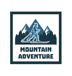 logo mountain adventure label stamp winter vector image