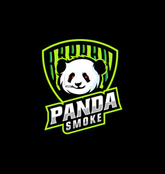 logo panda smoke e sport and sport style vector image