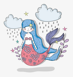 Mermaid woman with clouds raining and stars vector
