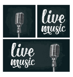 microphone and calligraphic handwriting lettering vector image
