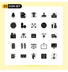 Modern set 25 solid glyphs pictograph risky vector