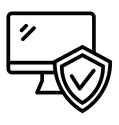 monitor with approve checkmark in shield line vector image