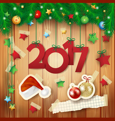 new year background with text and paper elements vector image