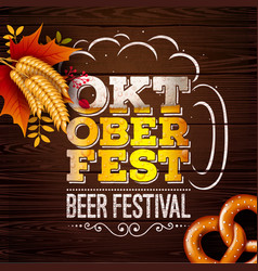 Oktoberfest banner with fresh beer in vector