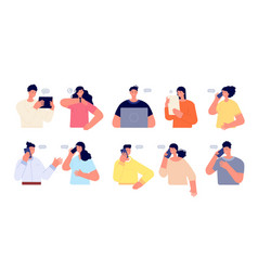 people chatting online person work with computer vector image