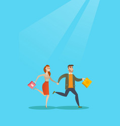 People running in a hurry to the store on sale vector
