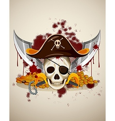 Pirate theme with skull and sword vector image
