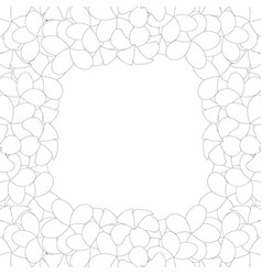 Plumeria border outline vector