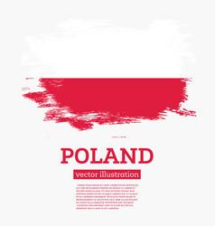 Poland flag with brush strokes vector