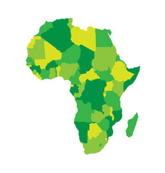political map of africa in four shades of green on vector image