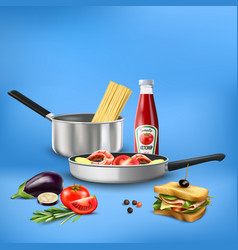 Realistic kitchen tools food composition vector