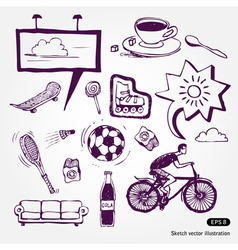 Rest and vacation icons set vector image