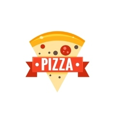 Restaurant logo with pizza slice vector