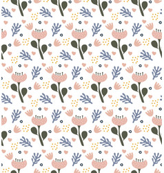 Retro floral doodle pattern flowers background vector