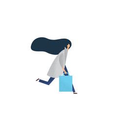 running woman with shopping bags vector image