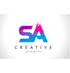 sa s a letter logo with shattered broken blue vector image