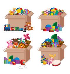 Set boxes full toys on white background vector