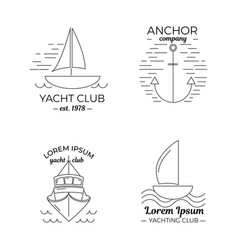 set four yacht club logos in thin line style vector image