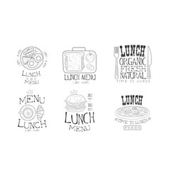set of monochrome logos for lunch menu vector image