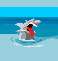 Shark wants to eat comics flat vector