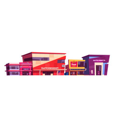 shops and commercial buildings exterior vector image