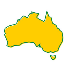 Simplified map of australia outline fill and vector