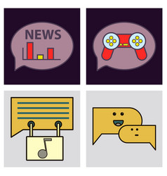 Social media icons in speech bubbles with group vector