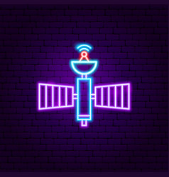 space satellite neon label vector image