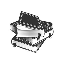 Stack books in monochrome style vector