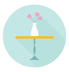 Table with flower vase flat circle icon vector