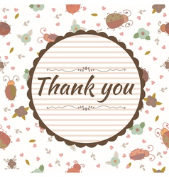 Thank you card Floral frame vector image