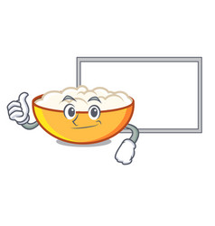 Thumbs up with board cottage cheese character vector