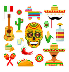 Traditional mexican attributes vector