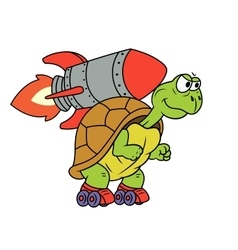 Turtle with rocket vector