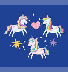 unicorns with rainbow mane bright stars heart love vector image