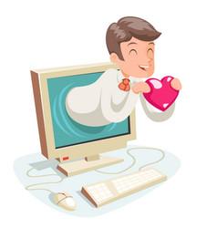 Valentin day internet cute happy businessman hold vector