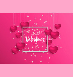 valentines day frame card of pink heart and flower vector image