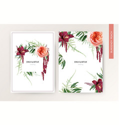 wedding invite card tropical design peach burgundy vector image
