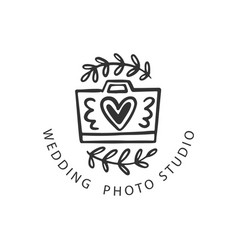 wedding photo studio logo badge vector image