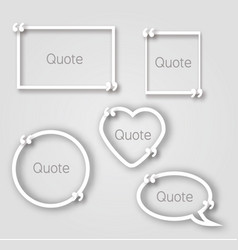 white quote bubble paper frames in realistic style vector image