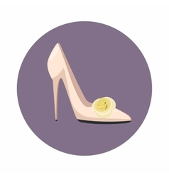 White shoe of the bride icon cartoon style vector