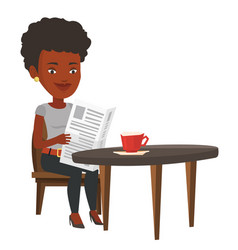 Woman reading newspaper and drinking coffee vector